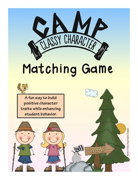 Camping Theme Character Education Matching Card Game Activity