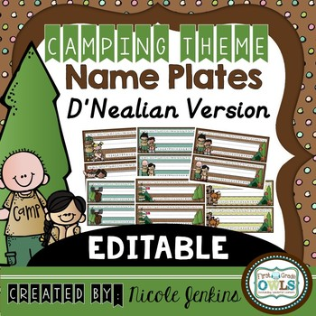 Camping Theme Nameplates D'Nealian Version