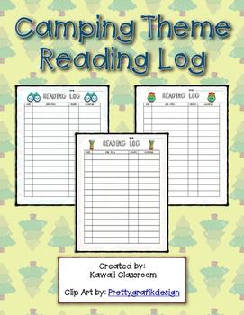 Camping Theme Reading Log