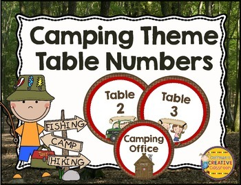 Camping Theme Table Numbers
