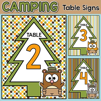 Camping Theme Table Signs