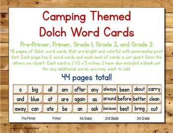 Camping Themed Decor Dolch Word Cards (Pre-Primer-3rd Grade)