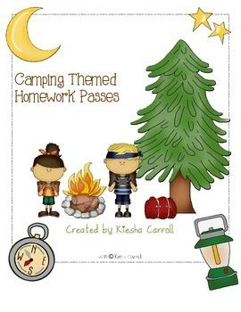 Camping- Themed Homework Pass