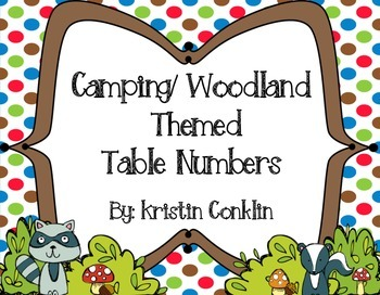 Camping Themed Table Numbers