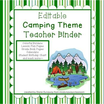 Camping Themed Teacher Binder (EDITABLE)