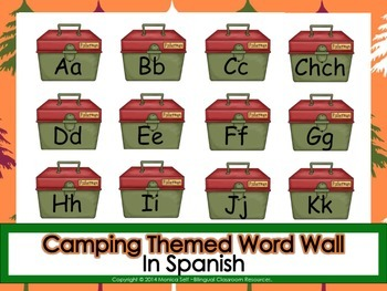 Camping Themed Word Wall In Spanish