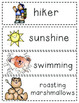 Camping Vocabulary Words - lowercase