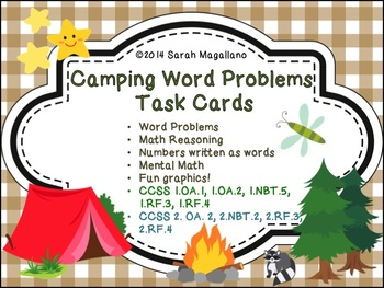 First Grade Word Problems: Camping Theme