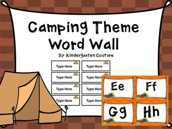 Camping Word Wall With Editable Word Page