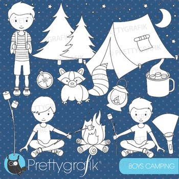 Camping boys stamps commercial use, vector graphics, image