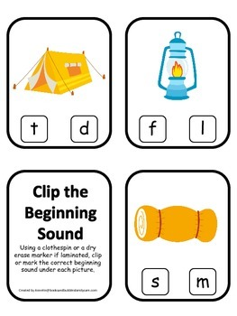 Camping themed Beginning Sound Clip it Cards.  Preschool a
