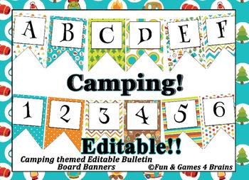 Camping themed EDITABLE bulletin board banner