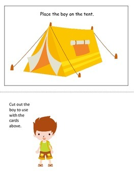 Camping themed Positional Cards preschool learning activit