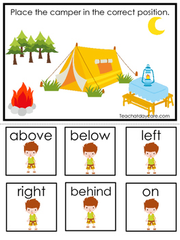 Camping themed Positional Game.  Printable Preschool Curri