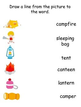 Camping themed preschool worksheet.  Draw a line from the