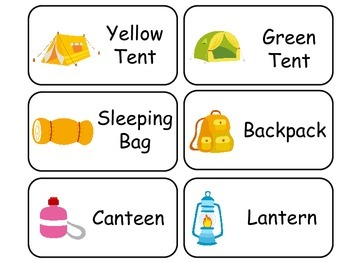 Camping themed printable Picture Word Flash Cards. Prescho