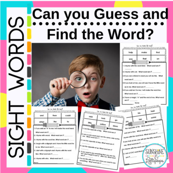 Sight Words: Can You Guess the Word Aligned with CCSS ELA
