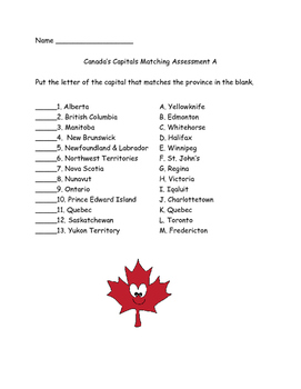 Canada Capitals Matching Assessments Quiz (two forms)