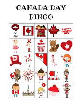 Canada Day Bingo Custom Printables
