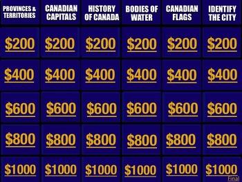 Canada Geography Jeopardy