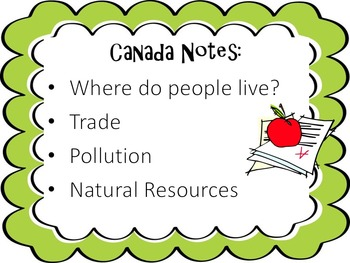 Canada Notes: Where people live, Trade, Pollution, Natural