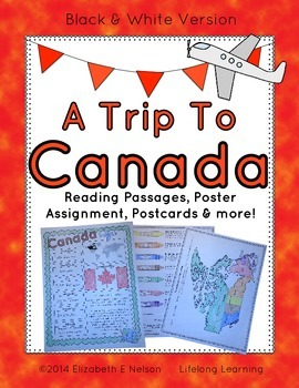 Canada Unit Study: A Trip To Canada- reading passages, pos