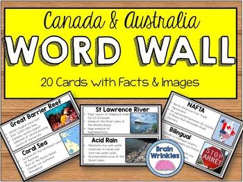 Canada and Australia Word Wall