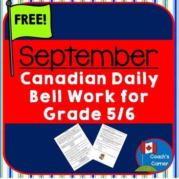 Canadian Bell Work for Grade 5/6 September FREEBIE