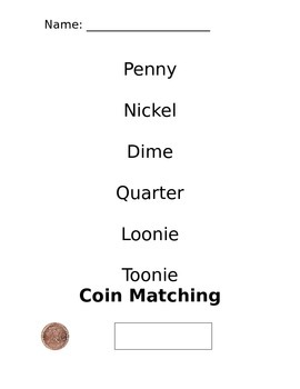 Canadian Coin Name Matching Worksheet