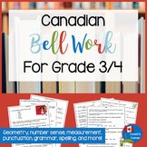 Canadian Daily Bell Work for Grade 3 & 4