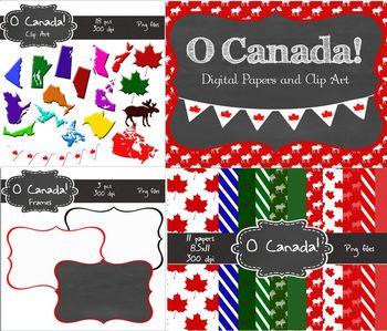 Canadian Digital Bundle (clip art, frames and paper) Comme