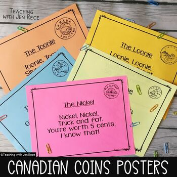 Canadian Money - Coins Anchor Charts / Posters Pack