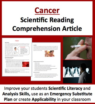 Cancer - A Science Reading Comprehension Article- Grade 8