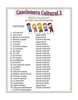Cancionero Cultural 2 Musica y movimiento Spanish Songs