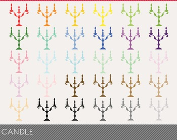 Candle Digital Clipart, Candle Graphics, Candle PNG, Rainb