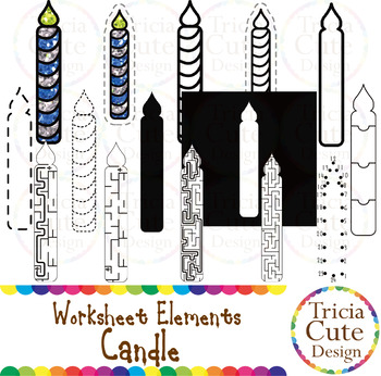Candle Worksheet Elements Clip Art for Tracing Cutting Puz