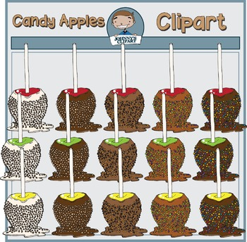 Candy Apples with Sprinkles and Nuts Clipart