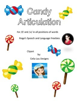Candy Articulation Cards for /f/ and /v/