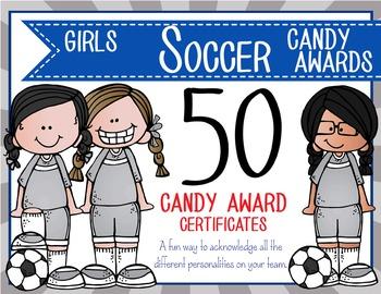 SOCCER - girls - Candy Award Certificates - editable MS Po