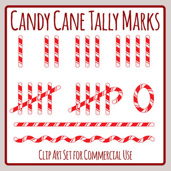 Candy Cane Tally Marks Clip Art Set for Commercial Use