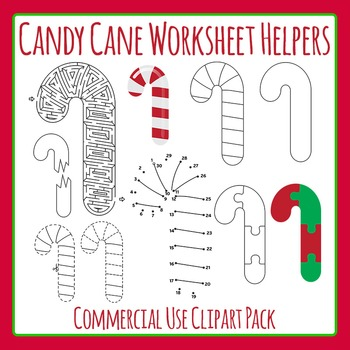 Candy Cane Worksheet Helpers for Christmas - Commercial Us