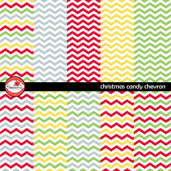 Candy Christmas Chevron Digital Paper Set by Poppydreamz
