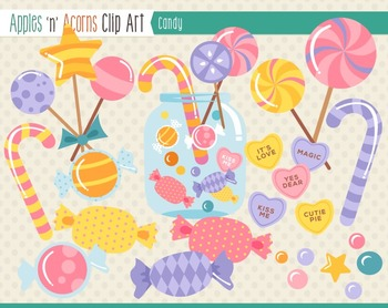 Candy Clip Art - color and outlines