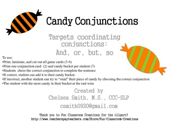 Candy Conjunctions: A game targeting Coordinating Conjunctions