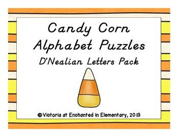 Candy Corn Alphabet Puzzles: D'Nealian Letters Pack