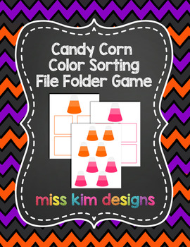 Candy Corn Color Sorting File Folder Game for students wit