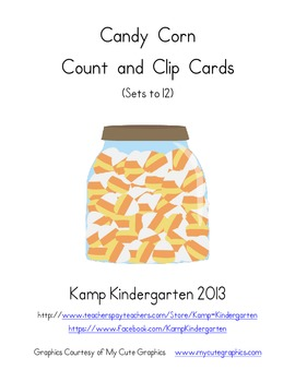 Candy Corn Count and Clip Cards (Sets to 12)