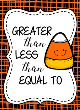 Candy Corn Greater Than, Less Than, & Equal To