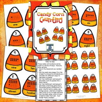 Candy Corn Math puzzles and interactive notebook