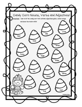 Candy Corn Nouns, Verbs and Adjectives Halloween Color Sor